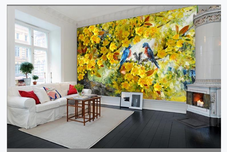 European 3D Wallpaper Murals Yellow Flower Bird Wallpapers For Living Room Three-dimensional Oil Painting Decor Backdrop Murals