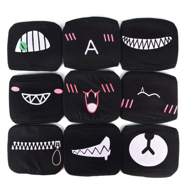 5PCs KPOP Face Mouth Mask Unisex Cute Anime Cartoon Expression Bear Kawaii Cotton WinterMask K-pop facial Masks for Men Women 1