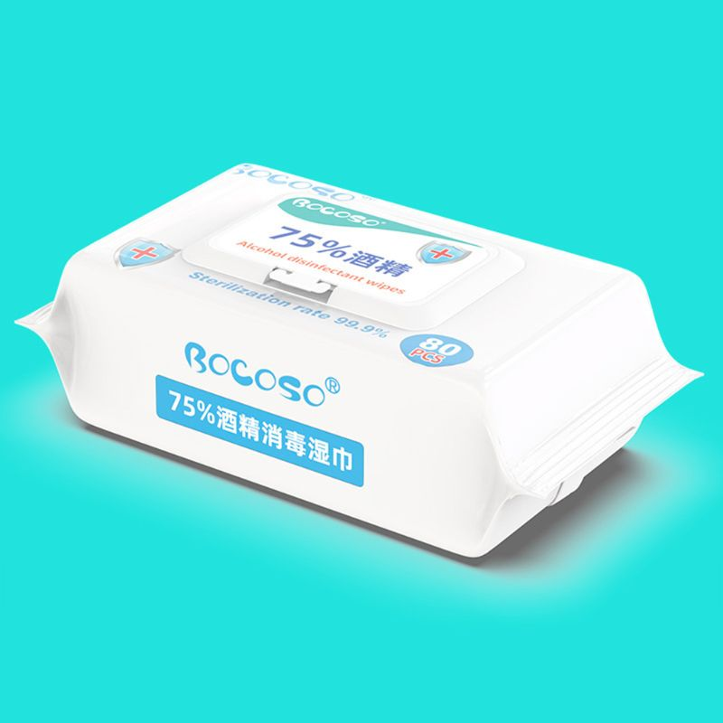 80Pcs Alcohol Disinfection Pads Sterilization Flip-Top Skin Cleaning Wet Wipes