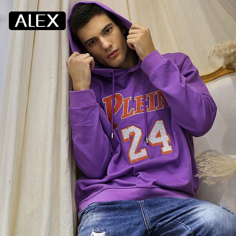 Мужские толстовки с капюшоном alex plein фиолетовые стразы в