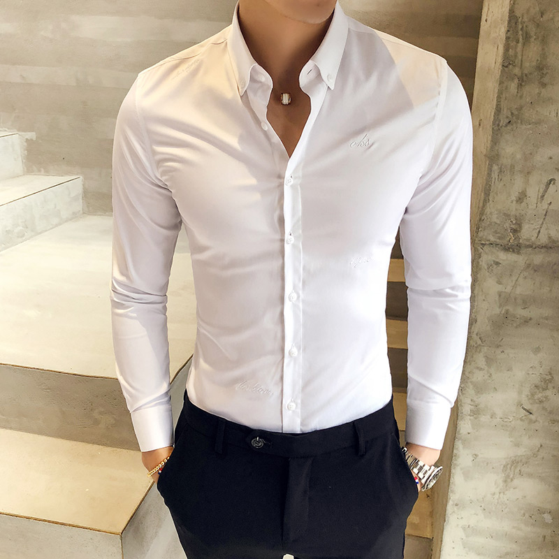British Style Shirt Men Autumn Formal Wear Solid Men Dress Shirts Long Sleeve All Match Slim Fit Casual Social Shirt Male 3XL-M