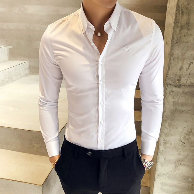 Homens da Camisa do Estilo britânico Outono Desgaste Formal Dos Homens Sólidos Camisas de Vestido de Manga Longa Durante Todo o Jogo Slim Fit Camisa Social Ocasional masculino 3XL M