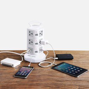 Image 5 - Tower Power Strip Protector de sobretensión Vertical, enchufe eléctrico de múltiples enchufes, toma de corriente USB Dual Universal, cordón de extensión de 3m