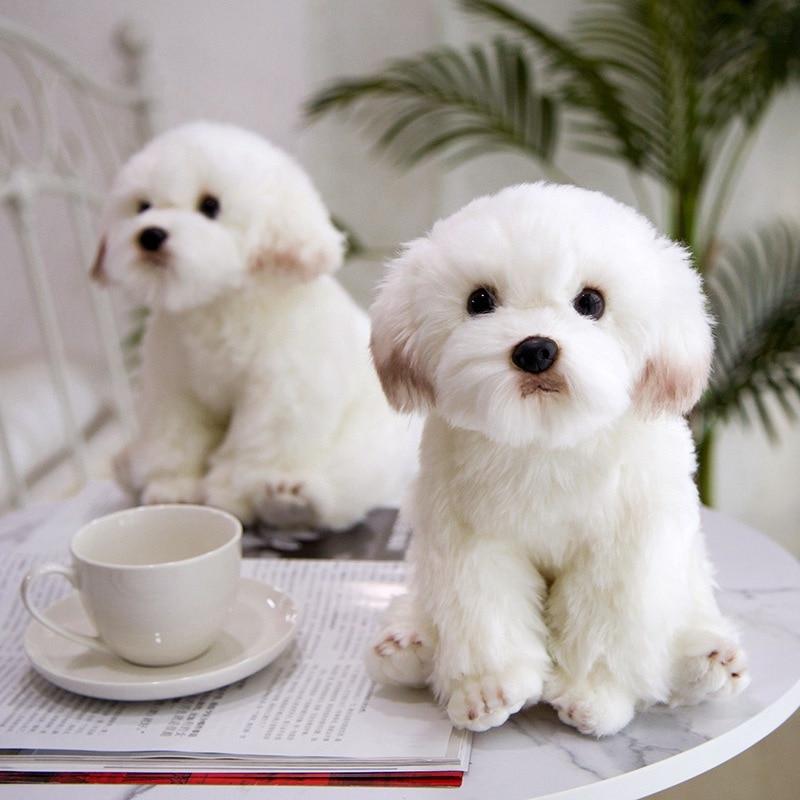 New High Quality Simulation Maltese Dog Plush Toy Soft Cartoon Animal Dog Stuffed Doll Home Decoration Baby Kid Birthday Gift