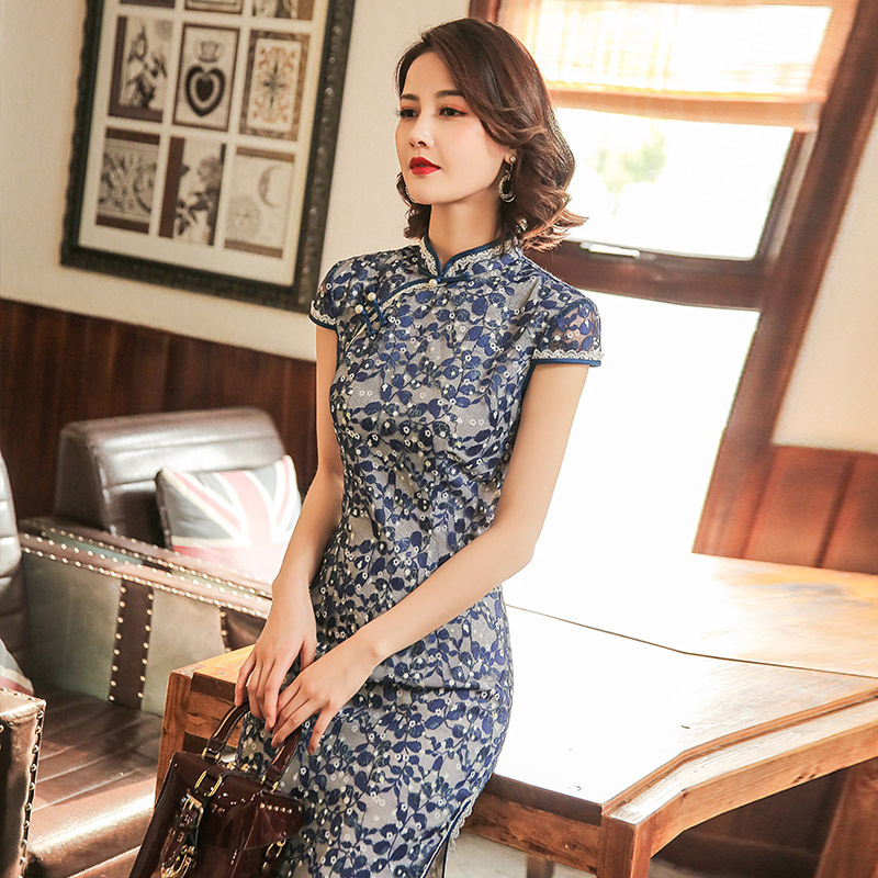 SHENG COCO Ladies Lace Qiapo Dress Navy Blue Cheongsam Leaves Pattern Traditional Clothing Chinese Latest  Lace Qipao Dresses