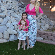 Mother Daughter Dresses Family Matching Dress 2019 Autumn Print V-neck Mommy and me dress mum daughter clothes E0255