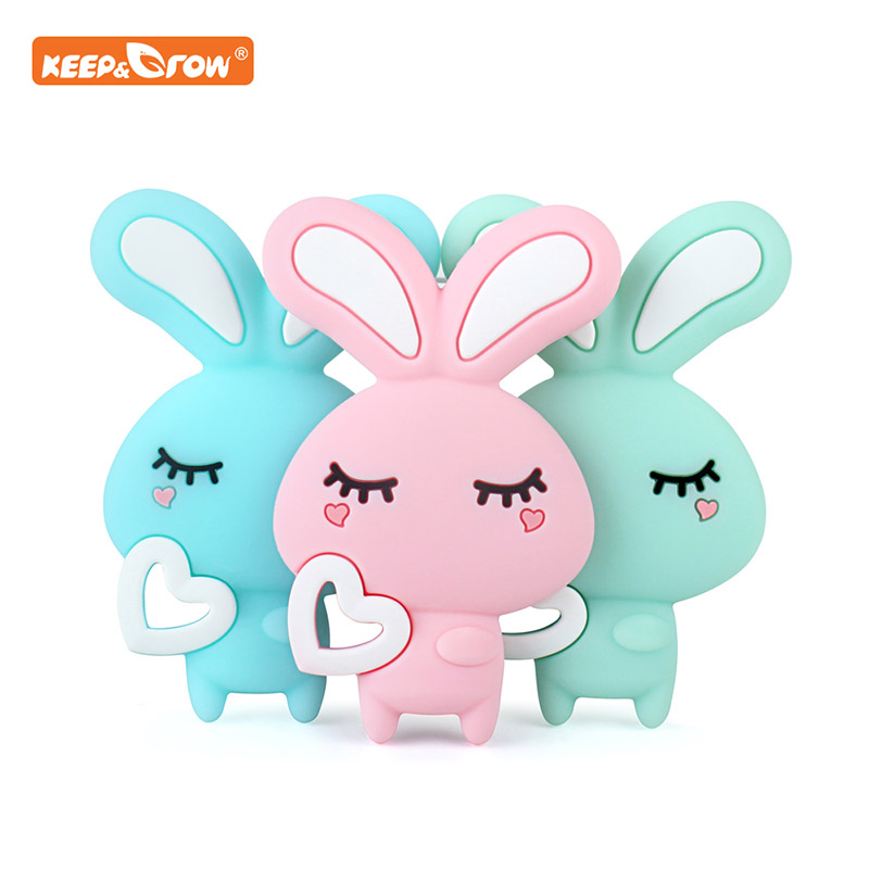 Keep&grow Rabbit Silicone Teether Latex Free Baby Teething Toy Baby Gift Food Grade Silicone Teether Bead Necklace Accessories