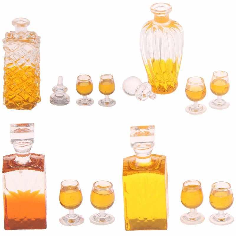 1Set Warna-warni Botol Anggur Rumah Boneka Miniatur 1:12 Skala Klasik Mainan untuk Anak-anak Model Skala Bayi DIY Mainan