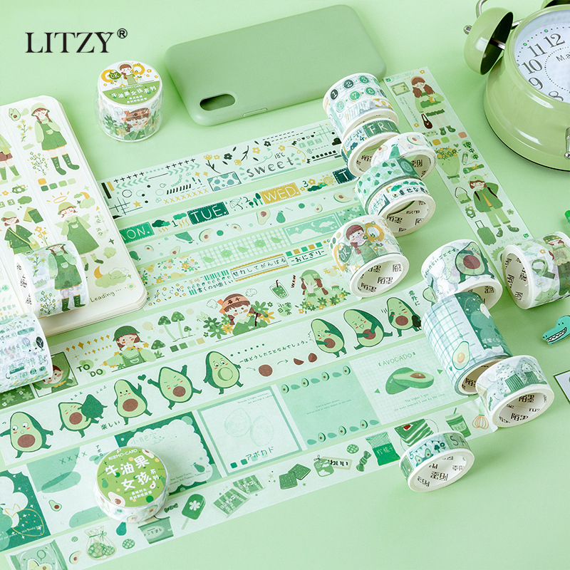 Cute Avocado Girls Washi Tape DIY Decoration Scrapbooking Planner Paper Wide Adhesive Masking Tape Label Sticker Stationery Gift