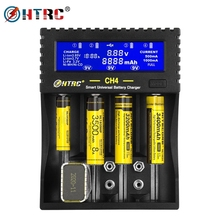HTRC 4 слота зарядное устройство Li Ion Li fe Ni MH Ni CD LCD умное быстрое зарядное устройство для 26650 6F22 9V AA AAA 16340 14500 18650 батарея