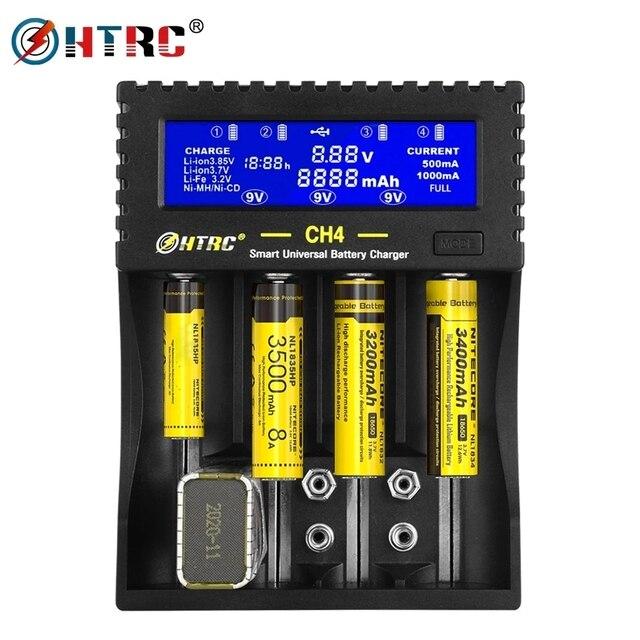 Htrc 4 slots carregador de bateria li ion li fe ni mh ni cd lcd carregador rápido inteligente para 26650 6f22 9v aa aaa 16340 14500 18650 bateria