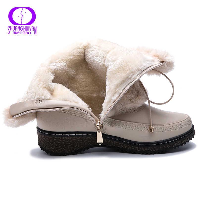AIMEIGAO su geçirmez kadın kış çizmeler sıcak peluş Lace Up beyaz kürk kar botları kadın yan fermuar platformu deri Botas Mujer