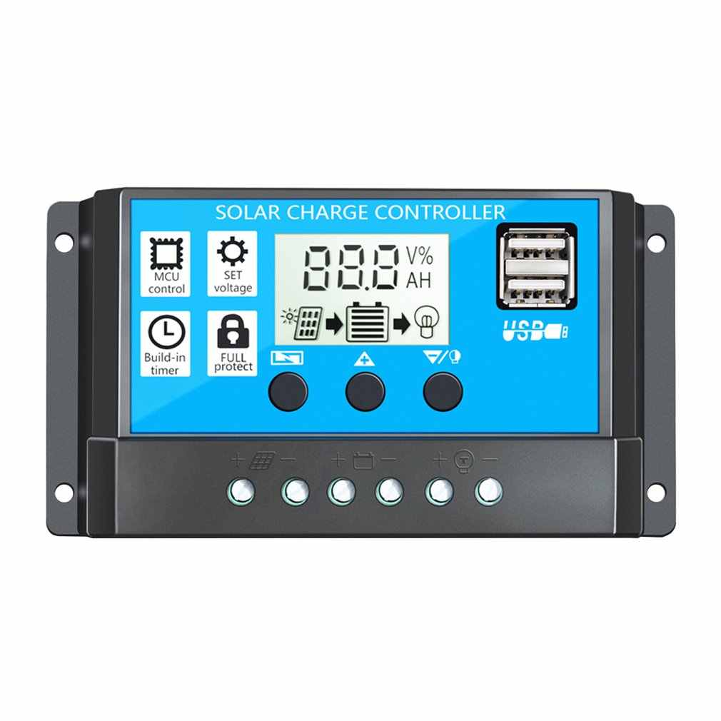60A/50A/40A/30A/20A/10A 12V 24V Auto Solar Charge Controller PWM pengendali LCD Dual USB 5V Output Panel Surya PV Regulator