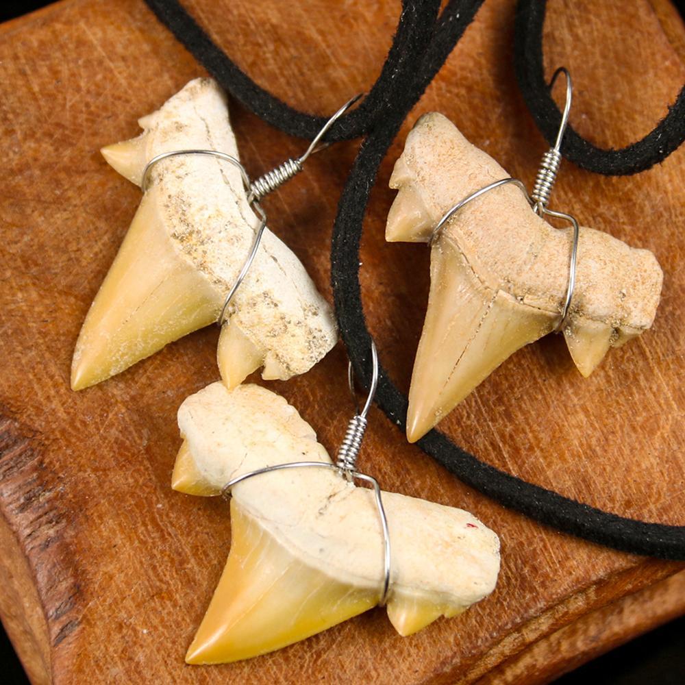 Уникальный натуральный марокканский зуб акулы кулон элегантный настоящий зуб акулы образец Амулет ожерелье замша Цепь ковбой человек драг...