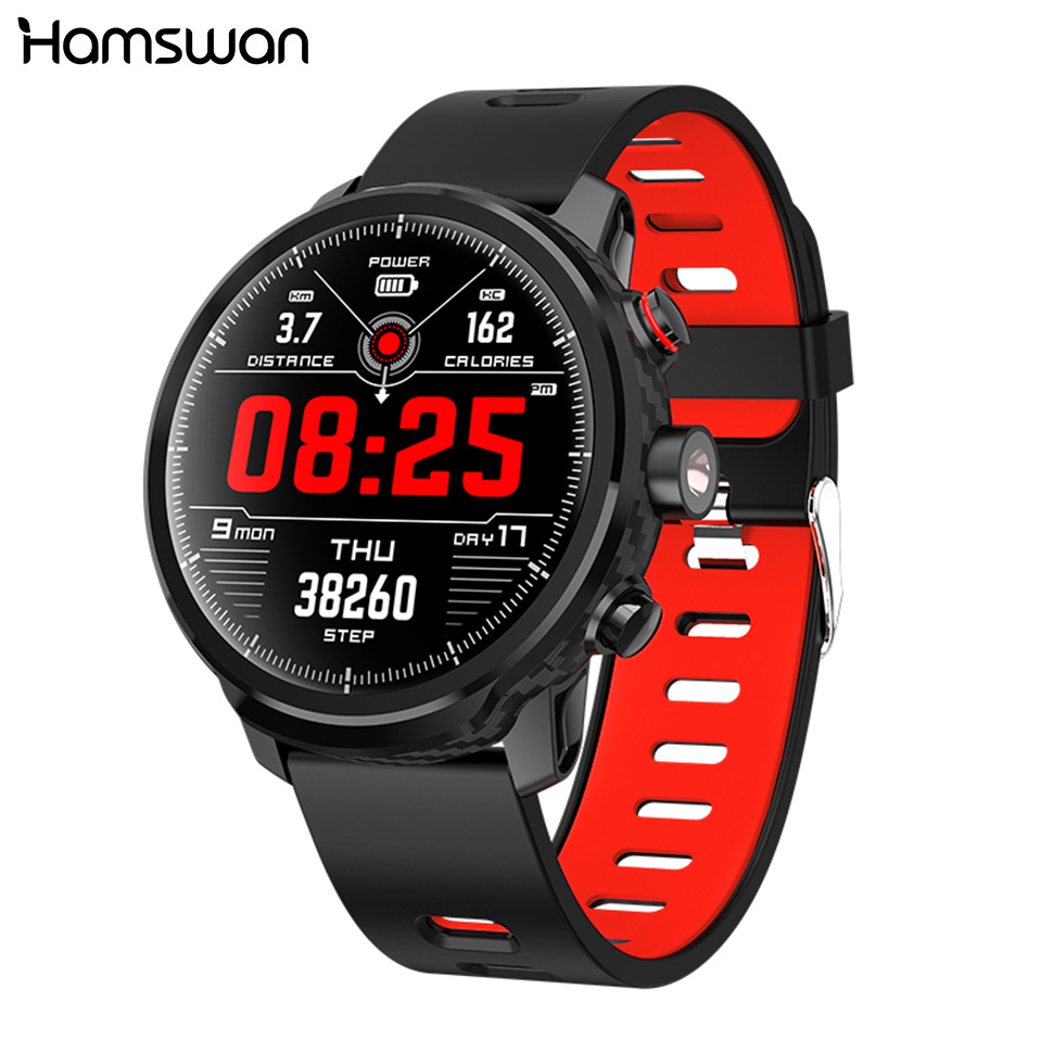 Hamswan L5 Smart Watch Men Heart Rate Weather Forecast Bluetooth Standby 100 Day IP68 Waterproof Multiple Sports Mode Smartwatch image
