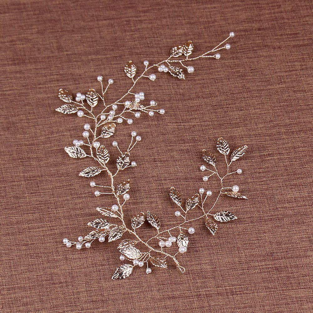 Fashion Head Jewelry Women Golden Alloy Leaf With Pearl Bridal Headdress Beaded Wedding Hair Accessories For Women Hot Sale