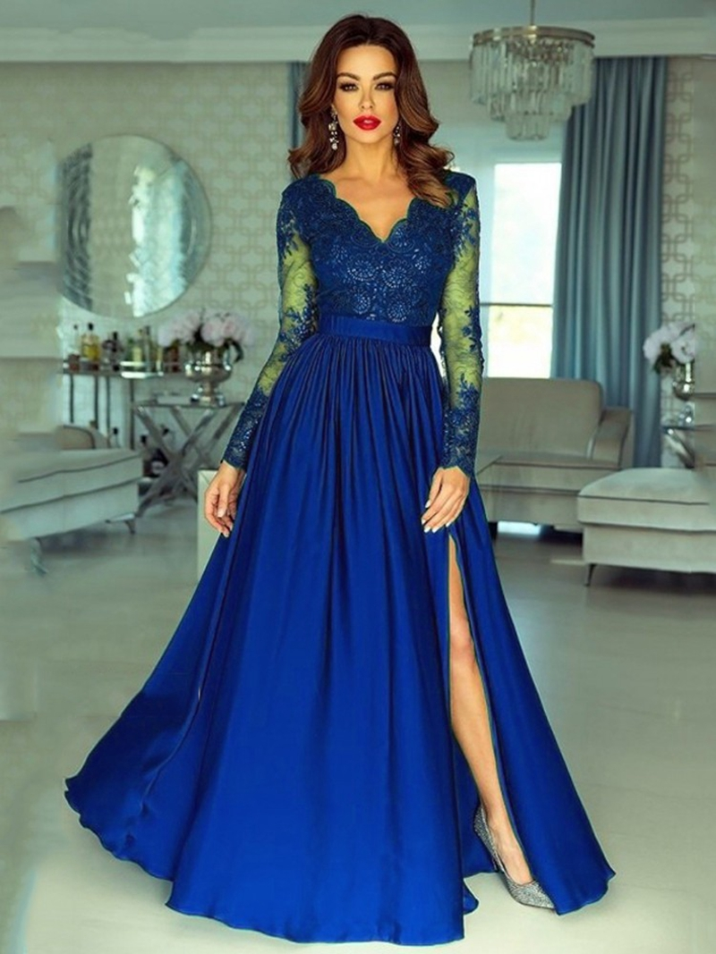 New Arrival Sexy V Neck Formal Evening Dress Long Sleeve Prom Party Dress Side Split Longo Evening Gowns