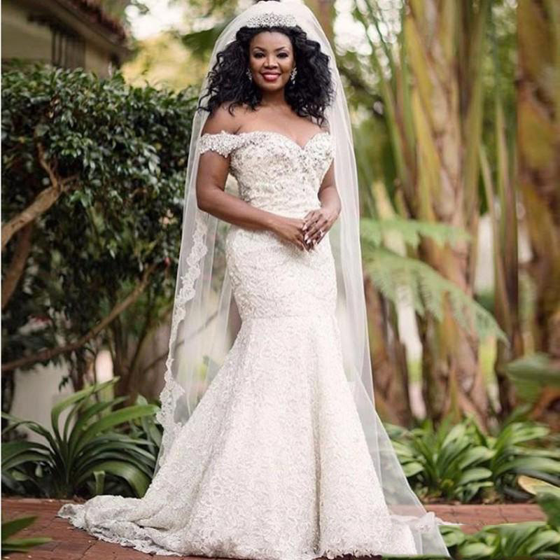 African Plus Size Lace Beaded Ruched Off-shoulder Mermaid Wedding Dresses Simple Sweetheart Neck Sleeveless Bridal Gown Vestido