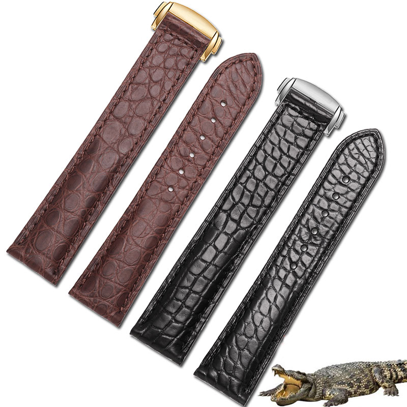 18mm 19mm 20mm 22mm Crocodile leather strap black and brown bracelet with folding buckle adaptation Omega Men and Women Watch