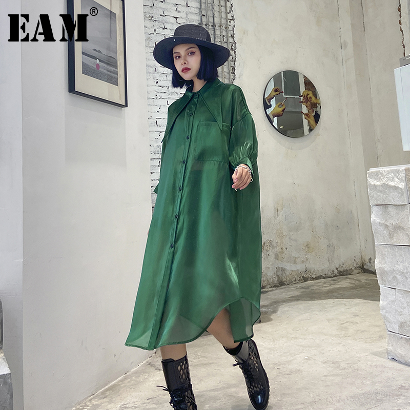[EAM] Women Green Organza Perspective Big Size Shirt Dress New Lapel Short Sleeve Loose Fit Fashion Spring Summer 2020 1T838