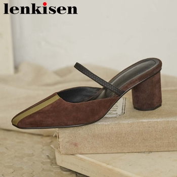 Lenkisen new fashion genuine leather small square toe high heels women slip on mules mixed color vintage cozy summer sandals L41