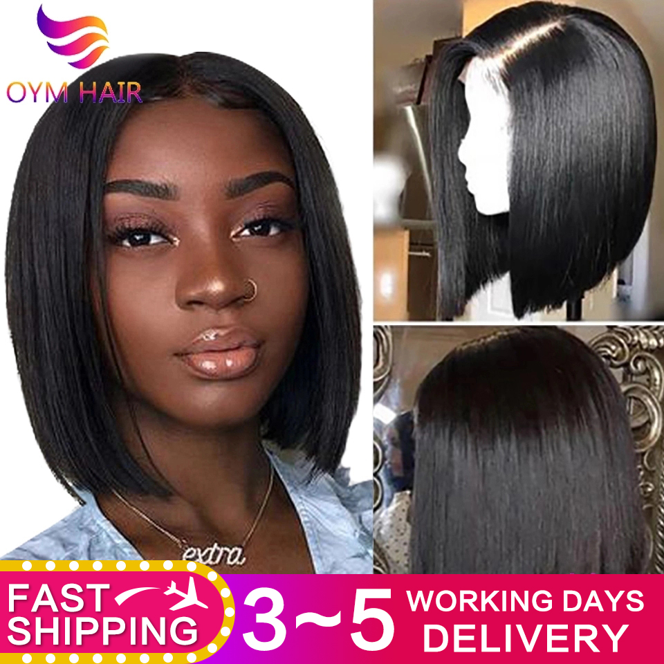 Short Bob Wigs 13x4 Lace Front Human Hair Wigs Peruvian 100% Remy Human Hair Wigs Pre-Plucked Bleached Knots For Woman 150%
