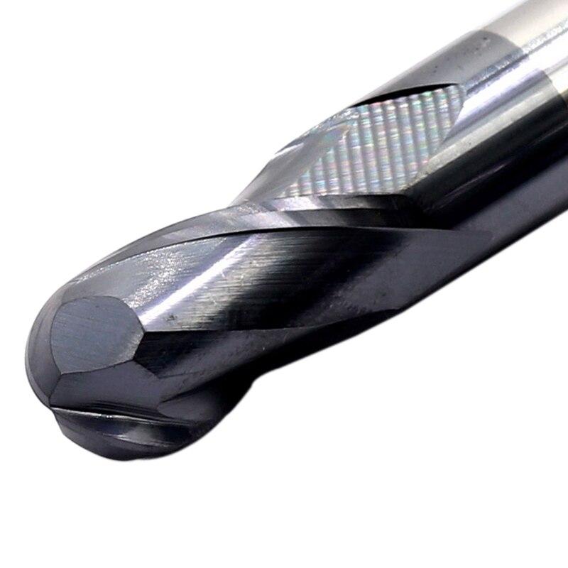 Mzg 2 flauta de corte hrc50 1mm 2mm 3mm 4mm 5mm fresagem usinagem de aço tungstênio sprial bit fresa bola nariz moinho de extremidade