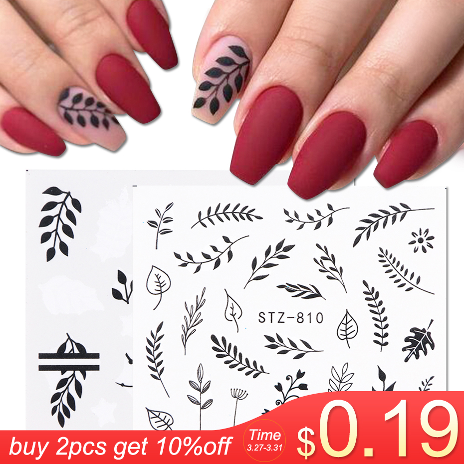 1 Sheet Black White Leaf Nail Art Sticker Slider Flower Water Decals Decor Watermark Tattoo Manicure Accessories LASTZ808-815-1