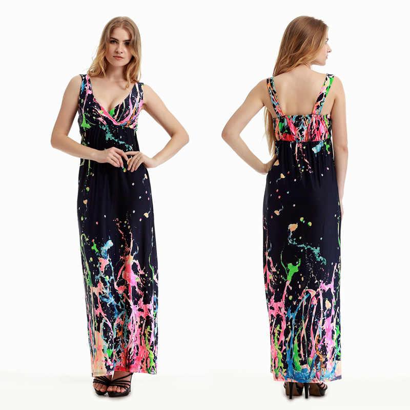 M-6XL плюс размер женское праздничное длинное платье граффити Печать Глубокий v-образный вырез макси платья свежее летнее пляжное платье Большой размер Vestidos