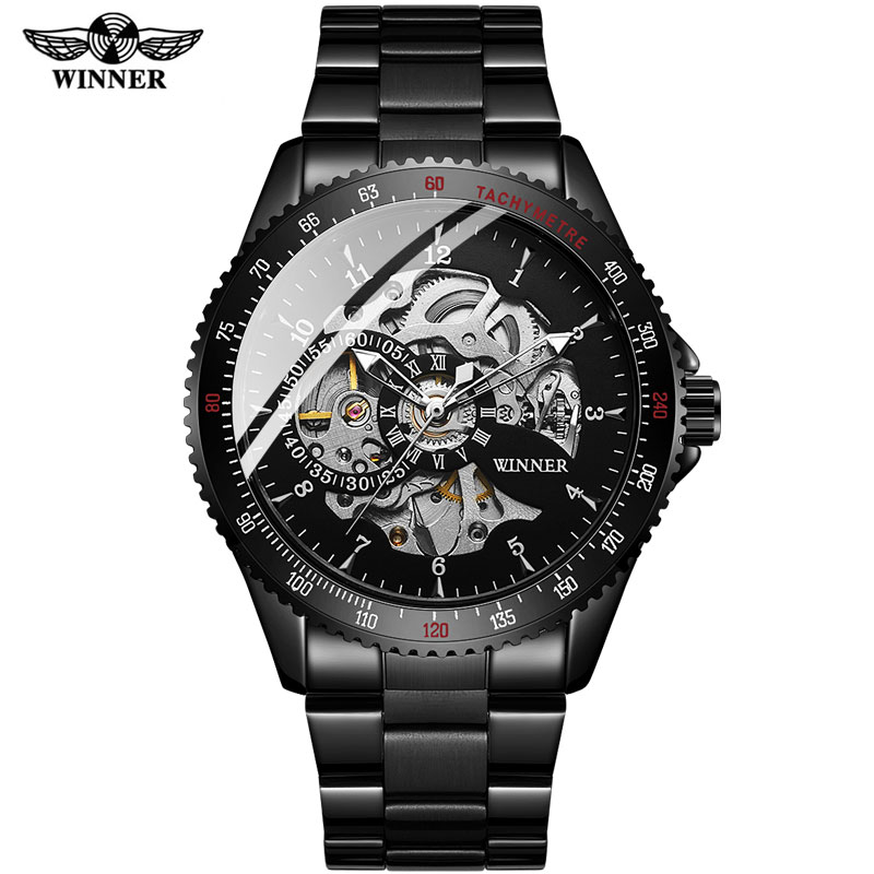 Free Shipping 2020 Men Automatic Mechanical Watches Winner Men's Black Stainless Steel Watches Fashion Skeleton Steampunk Watch