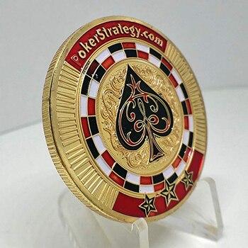 Fichas de la suerte de póker, chapado en oro, desafío conmemorativo, regalo de colección de monedas