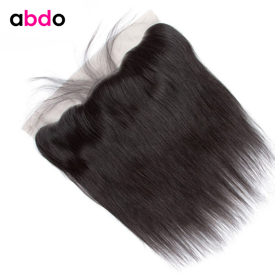 Brazilian Hair 13x4 Lace Frontal Closure Straight Human Hair Frontal With Baby Hair Non-Remy Free/Middle/Three Part Closure Abdo