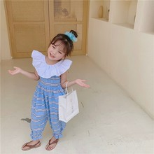 New children's clothing fashion striped lotus leaf collar baby jumpsuit girls straps pants
