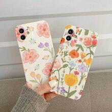 Für iphone 12 Bunte Blume Weichen Silikon Relief Fällen Für iPhone 11 Pro Max XR X XS 7 8Plus nette Tulip Rose floral Abdeckung
