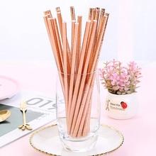 Красивые бумажные соломинки с узором из розового золота 25 шт., соломинки для коктейлей и напитков для свадьбы, дня рождения, бара, паба, джунглей, вечерние принадлежности