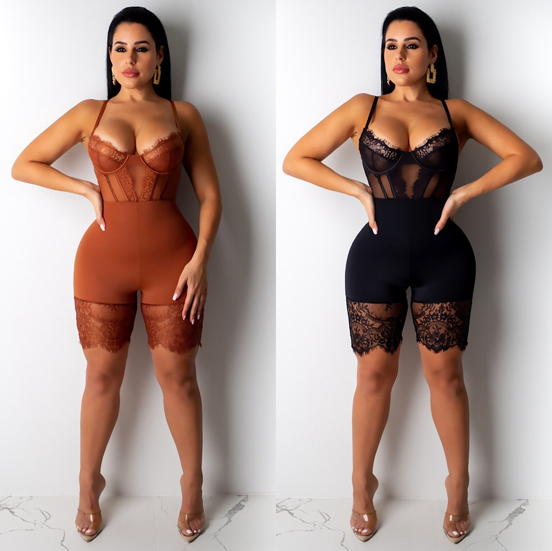 ZKYZWX Sexy Lace Mesh Sheer Playsuit One Piece Club Body Outfit Spaghetti Strap Backless Bodycon Rompers Womens Jumpsuit Shorts