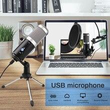 Microphone USB avec trépied pour enregistrement et diffusion en direct, compatible avec Windows, YouTube et Skype Studio