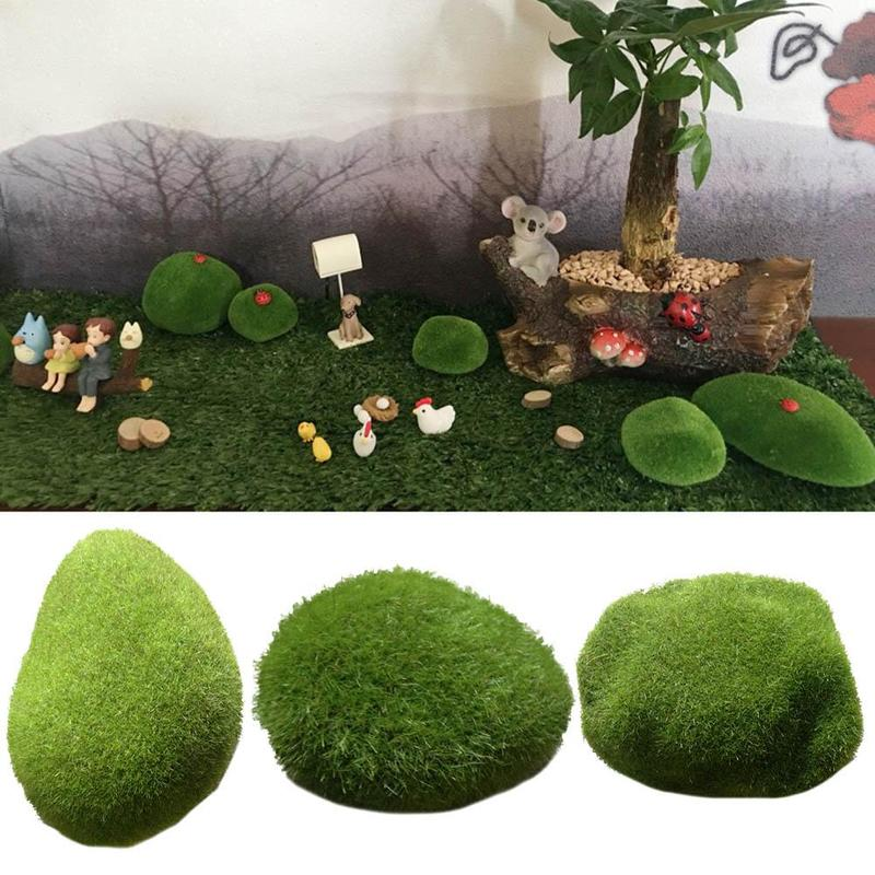 Newest 1Pcs Green Artificial Moss Stones Grass Plant Decor Poted Landscape DIY Resin Garden Crafts Landscape Decoration Y3I5(China)