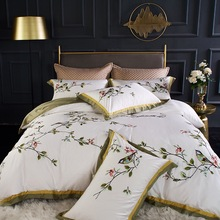 white and red embroidered egyptian cotton house de couette and pillow cases bedding set duvet cover White plant bird embroidered Egyptian cotton bedding set king duvet cover and pillow cases