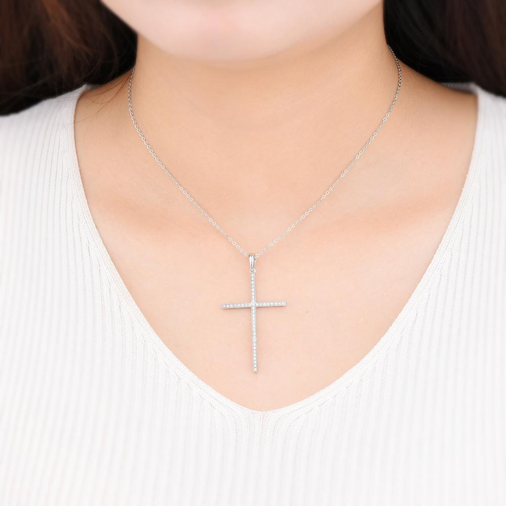 Купить с кэшбэком Hutang Cross Pendant 925 Sterling Silver of Cross  Cubic Zirconia Necklace Genuine Cross Pendant for Women's Accessories
