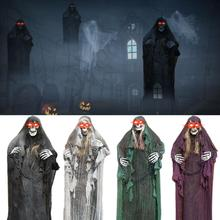 5.58-foot-tall The best decorative props with a pair of red LED light eyes for Halloween hanging from the skull Death