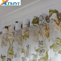 Purple Floral Tulle Curtains for Kitchen Curtains for Living Room Bedroom Yellow\/Purple Window Treatments Door Home Drapes