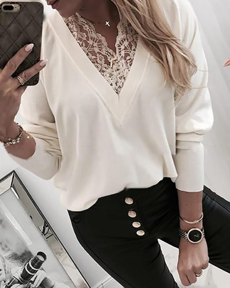 Women Winter Sweater Solid Lace Stitching Long-sleeved V-neck Sweaters Elegant White Lace Pullovers