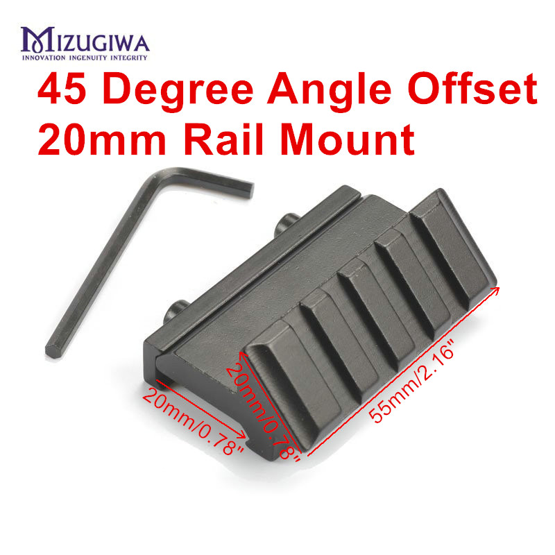 MIZUGIWA Tactical 4 Slot One Side 45 Degree Angle Offset 20mm Rail Mount For Weaver Picatinny Rail Caza Hunting Accessories