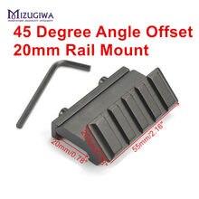 Mizugiwa tático 4 slot um lado ângulo de 45 graus offset 20mm montagem em trilho para weaver picatinny ferroviário caza caça acessórios