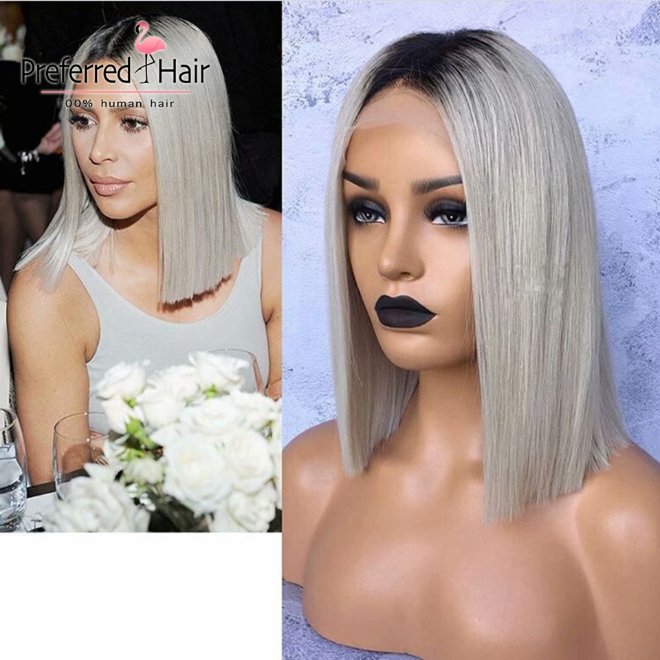 Preferred Brazilian Remy Bob Lace Front Wigs With Baby Hair 613 To Yellow Ombre Grey Wig Short Human Hair Wigs For Black Women