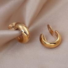 Vintage Golden Minimalist C Shape Clip on Hoop Earrings Non Pierced Cute Earrings for Women 2020 Trend Jewelry Gift