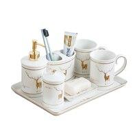 Conjunto do banheiro de cerâmica loção dispensador escova dentes titular prato sabão gargarejo copo bandeja cerâmica acessórios do banheiro conjuntos|Conjuntos de acessórios para banheiro|   -