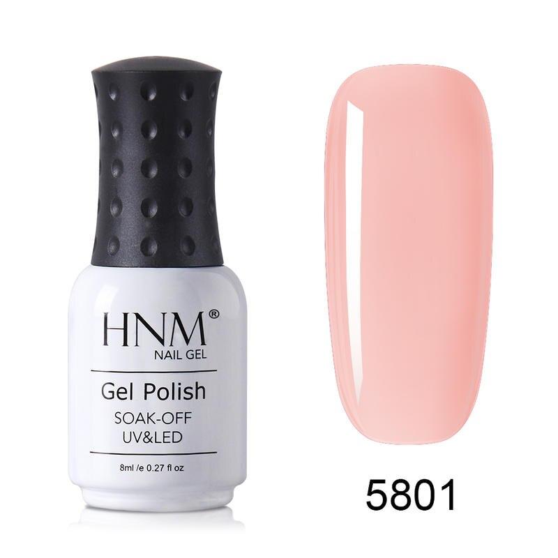 Полуперманентный Гель-лак HNM для ногтей, 8 мл, полупрозрачный, французский, телесный, полуперманентный, УФ-светодиодный