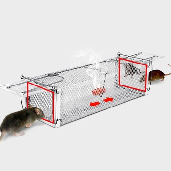 Behogar Two-door Mouse Pest Animal Mice Hamster Cage Control Repeller w/ Sensitive Trigger for House Home Farm Hotel 40x11x14cm